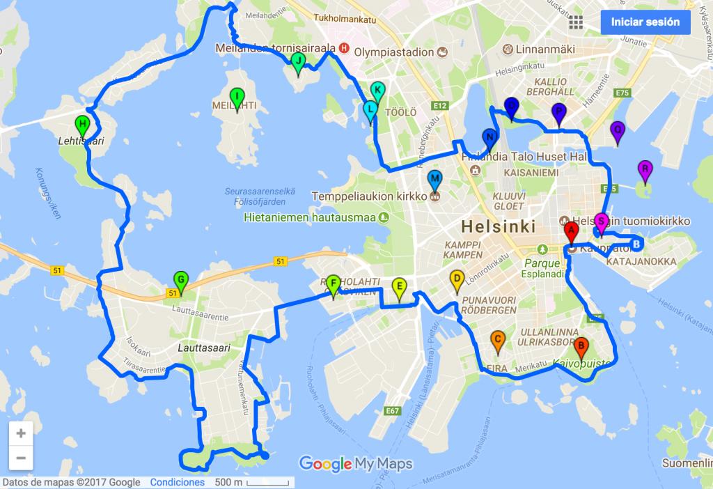 Helsinki en bicicleta ruta 2